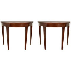Pair of Neoclassical Style Walnut Demilune Console Tables