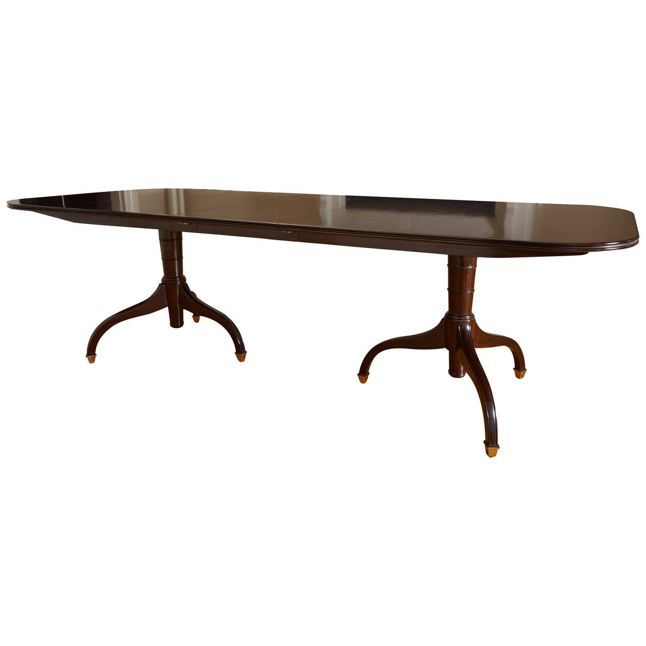 Regency Style Mahogany Extending Two Pedestal Table For Sale