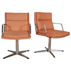 Pair of Mid-Century Doerner Faultless Steel Swivel Desk Chairs