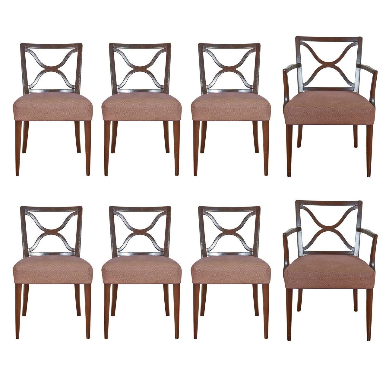 Set of Eight T.H. Robsjohn-Gibbings for Widdicomb Mahogany Dining Chairs