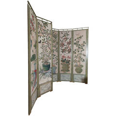 18th Century Chinese Hand-Painted Wallpaper Folding Screen