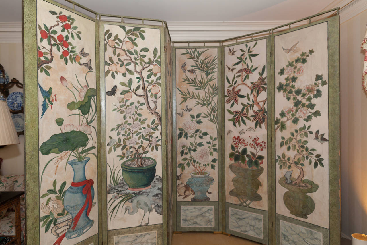 Folding Screen 18th Century Chinese Hand Painted Paper Folding Screen For Sale At