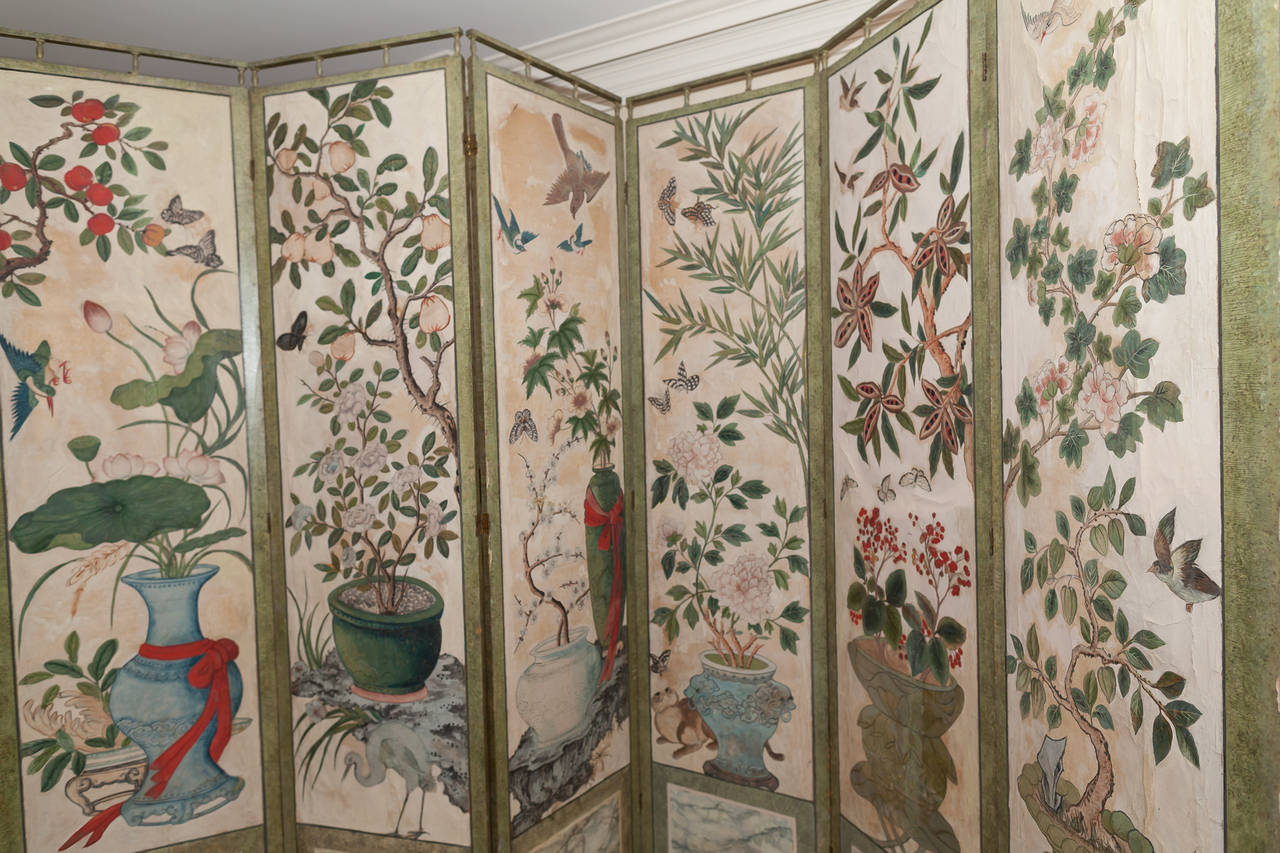 18th Century Chinese Hand Painted Paper Folding Screen For