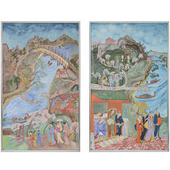 Pair of Large Chinoiserie Decorative Paintings