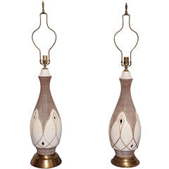 Pair of Tall Mid-Century Pottery Lamps