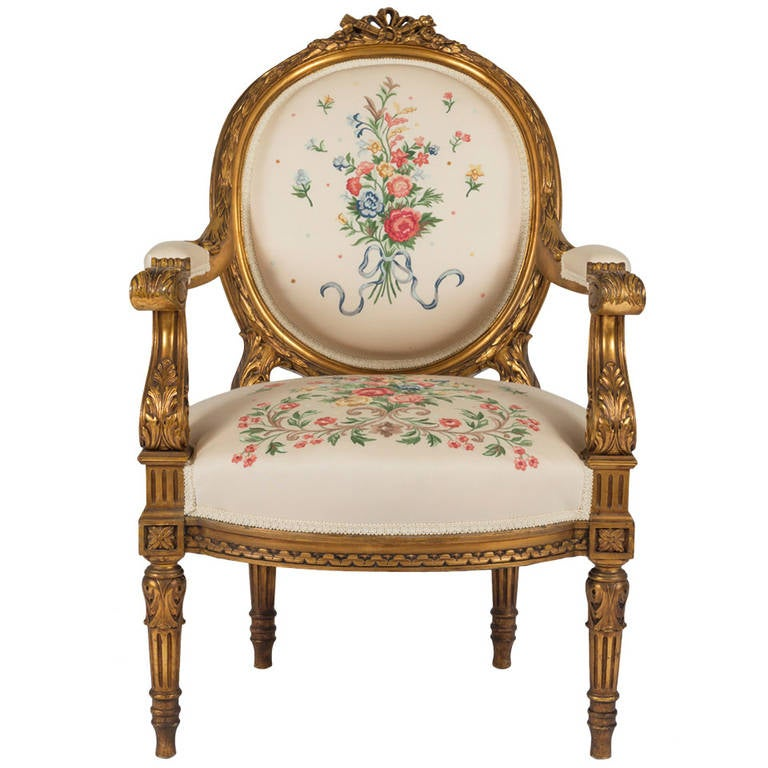 french louis philippe giltwood fauteuil for sale at 1stdibs. Black Bedroom Furniture Sets. Home Design Ideas