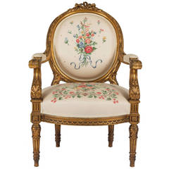 French Louis Philippe Giltwood Fauteuil