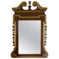 George II Style Walnut and Parcel Gilt Mirror