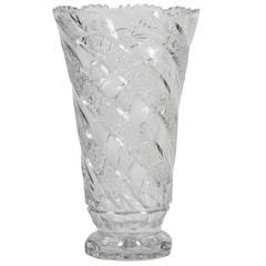 Large American Brilliant Period Cut-Glass Vase