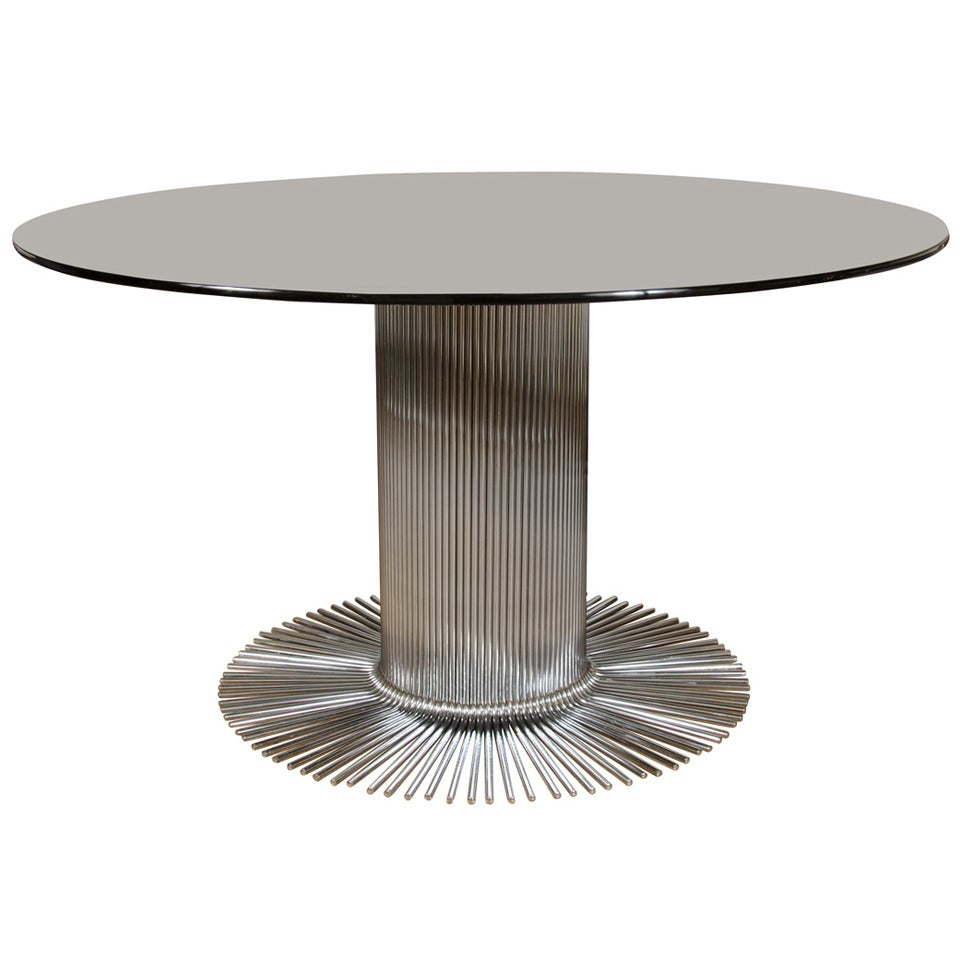 Center Table With Glass : ... Century Modern Steel and Smoked Glass Center Table For Sale at 1stdibs