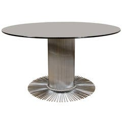 Italian Mid-Century Modern Steel and Smoked Glass Center Table