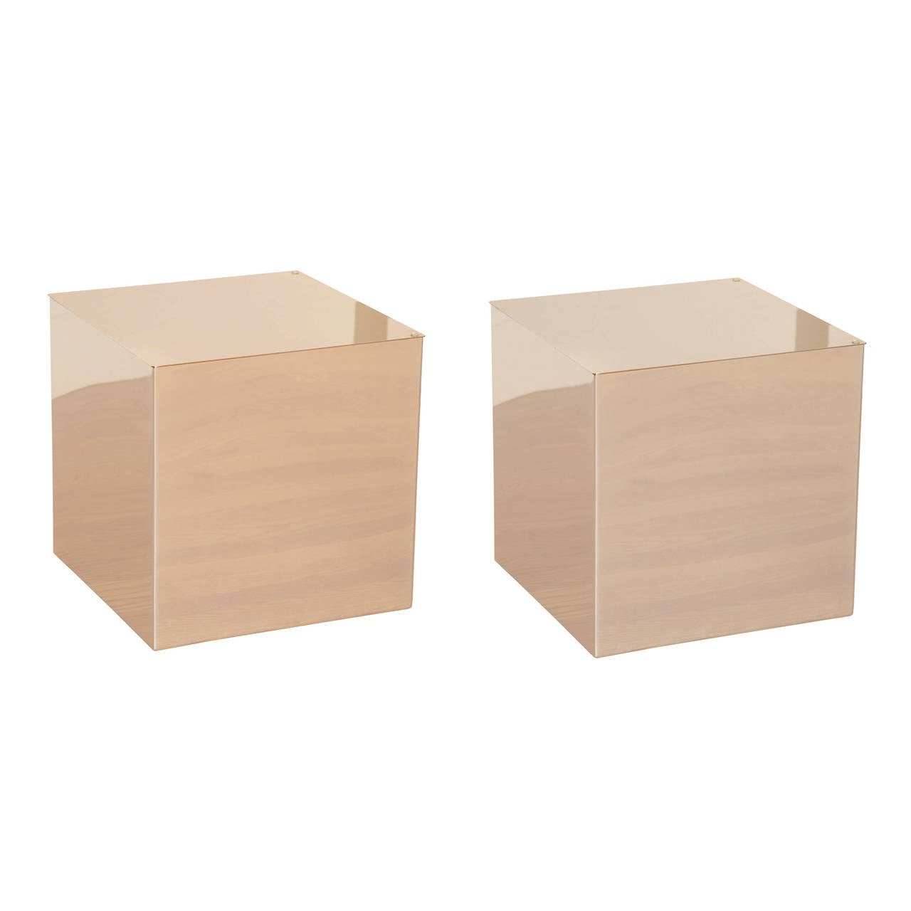 pair of habitat mirrored cube tables at 1stdibs