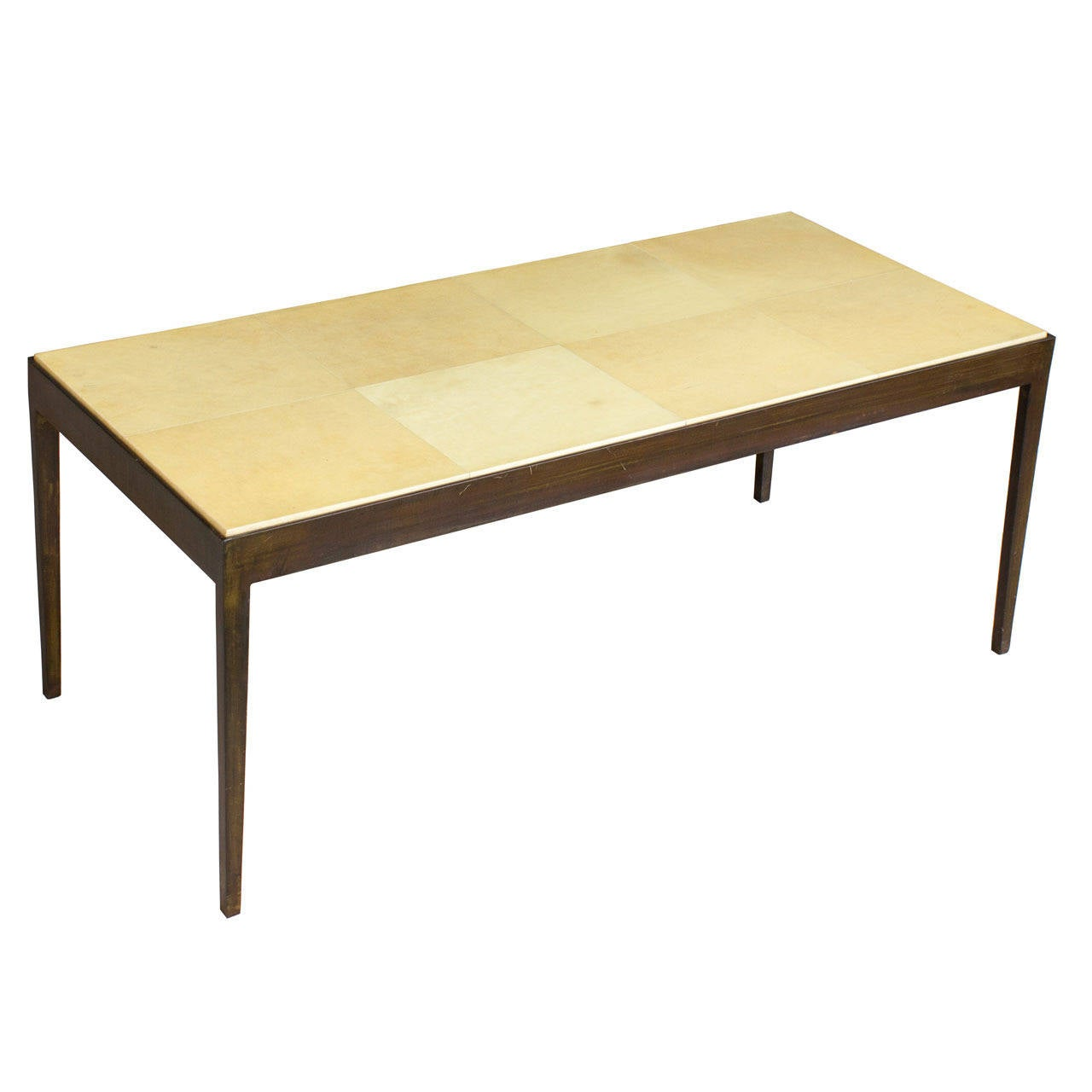 Modern Iron Coffee Table with Parchment Top