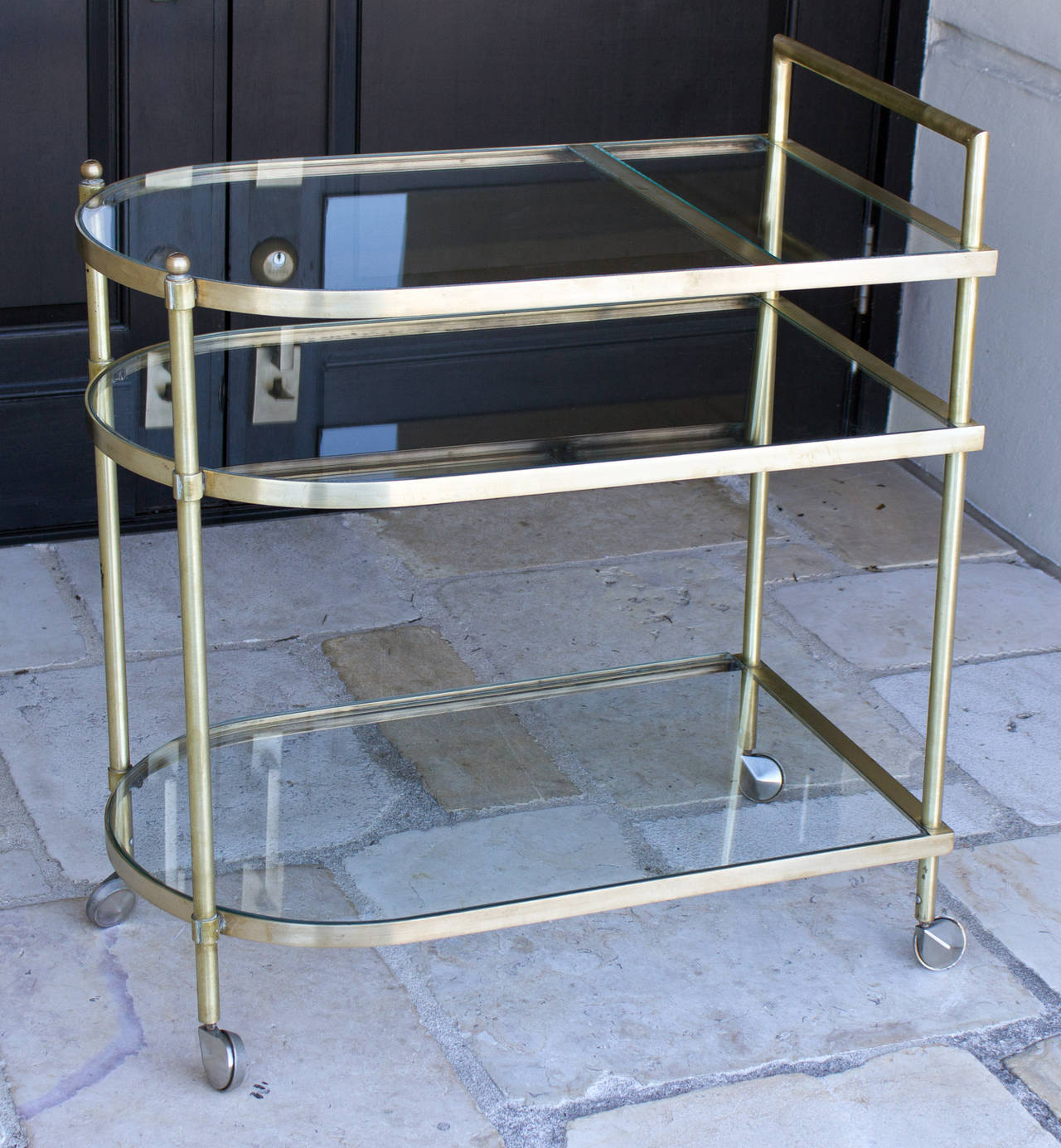 Three-Tier Mid-Century Brass Bar Cart, circa 1950 2