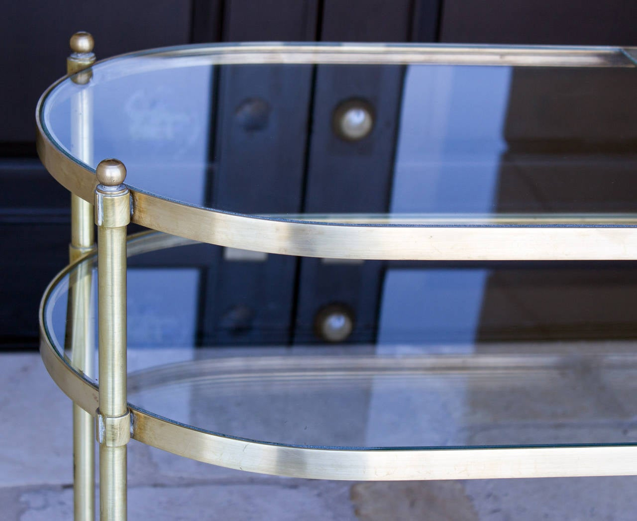Three-Tier Mid-Century Brass Bar Cart, circa 1950 5