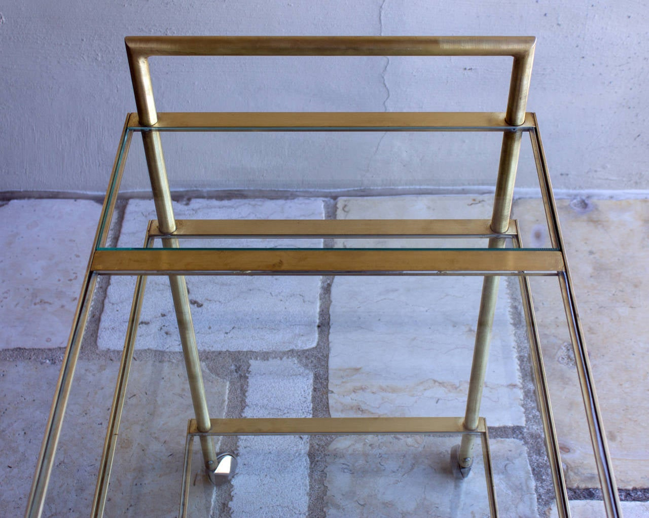 Three-Tier Mid-Century Brass Bar Cart, circa 1950 7