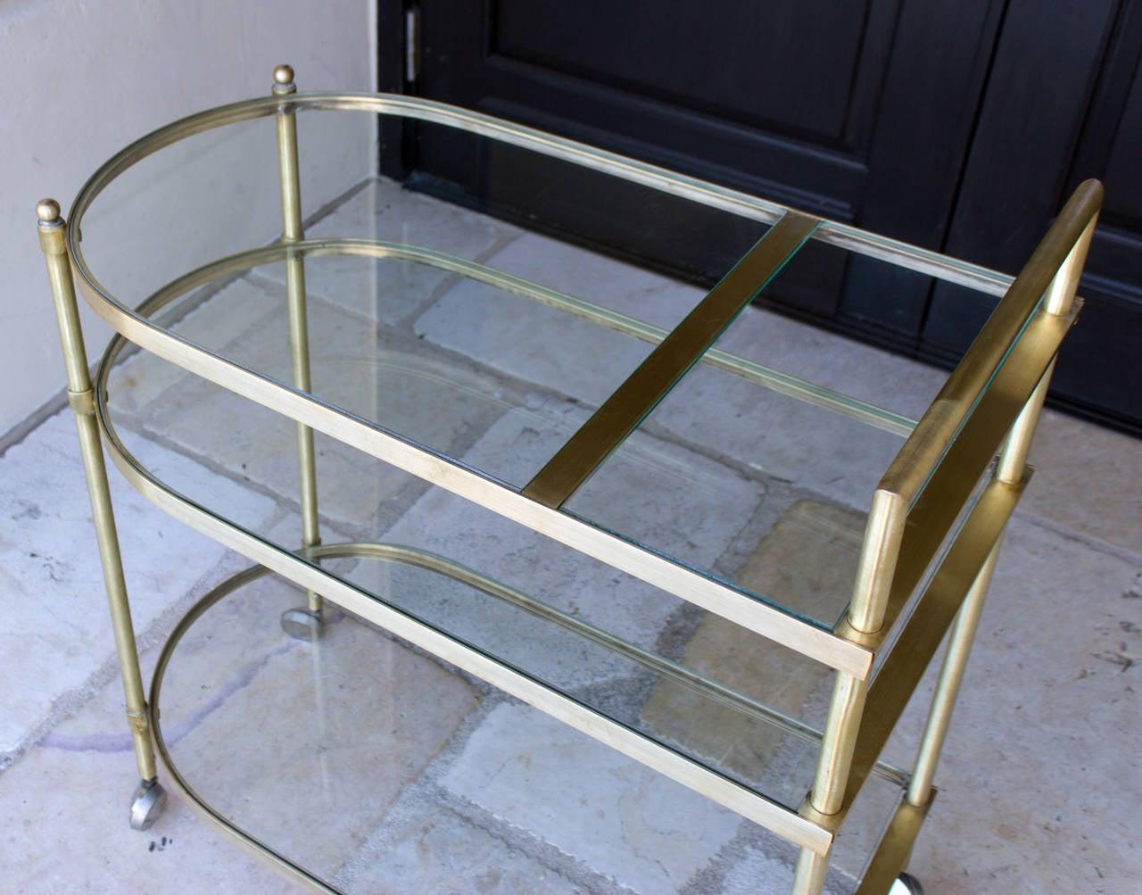 Three-Tier Mid-Century Brass Bar Cart, circa 1950 4