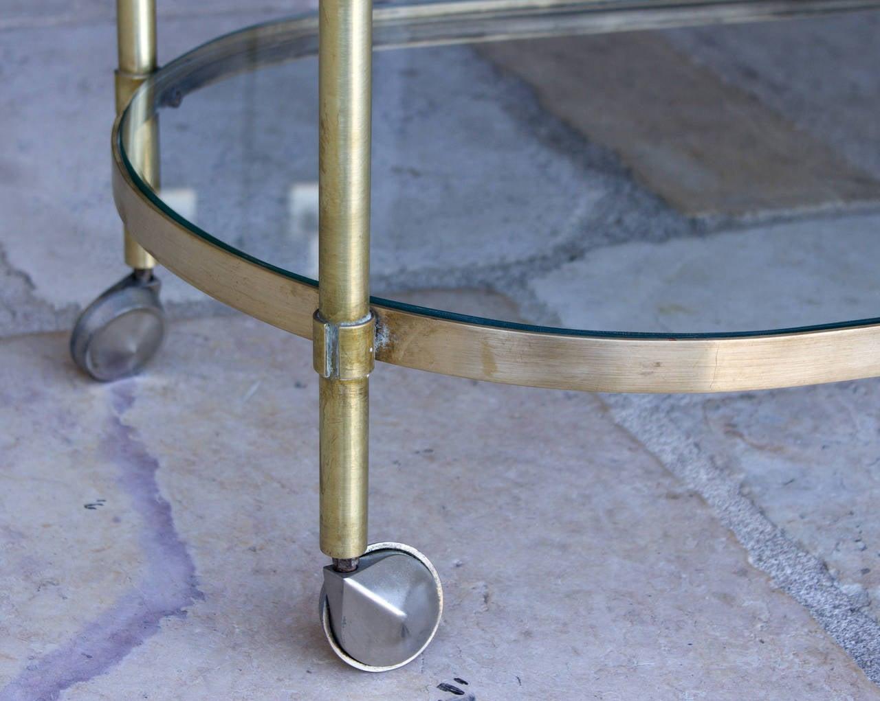 Three-Tier Mid-Century Brass Bar Cart, circa 1950 6