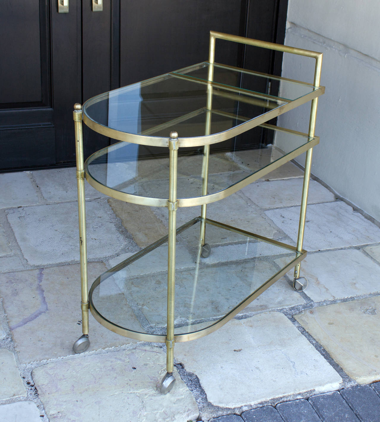 Three-Tier Mid-Century Brass Bar Cart, circa 1950 3