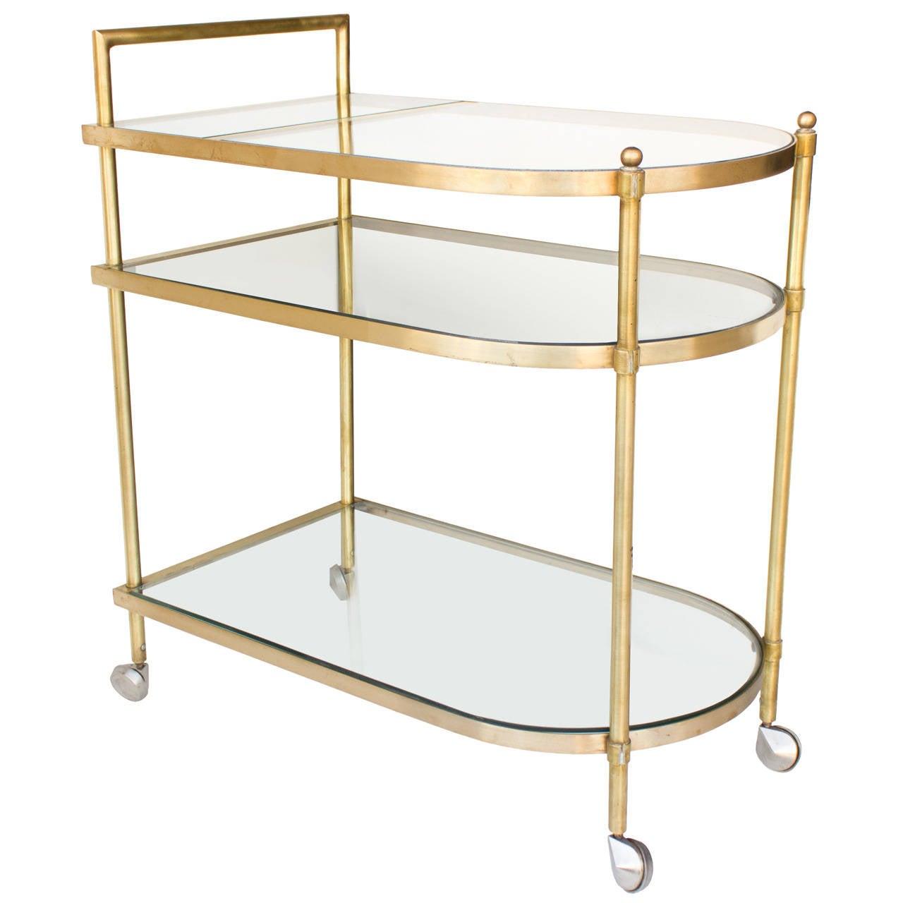 Three-Tier Mid-Century Brass Bar Cart, circa 1950 1
