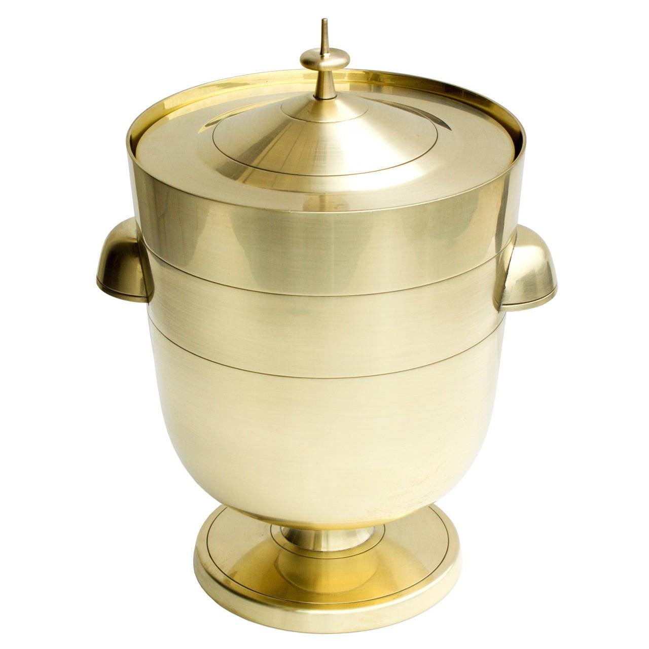 tommi parzinger brass ice bucket with mercury glass liner for sale  - tommi parzinger brass ice bucket with mercury glass liner