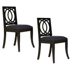 Sydney Side Chair by Robert Brown in Black Lacquer, Pair