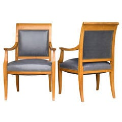 Pair of French Bleached Mahogany Chairs in Grey Leather and Mohair