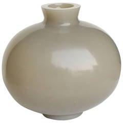 Robert Kuo Carnelian Grey Cocoon Vase