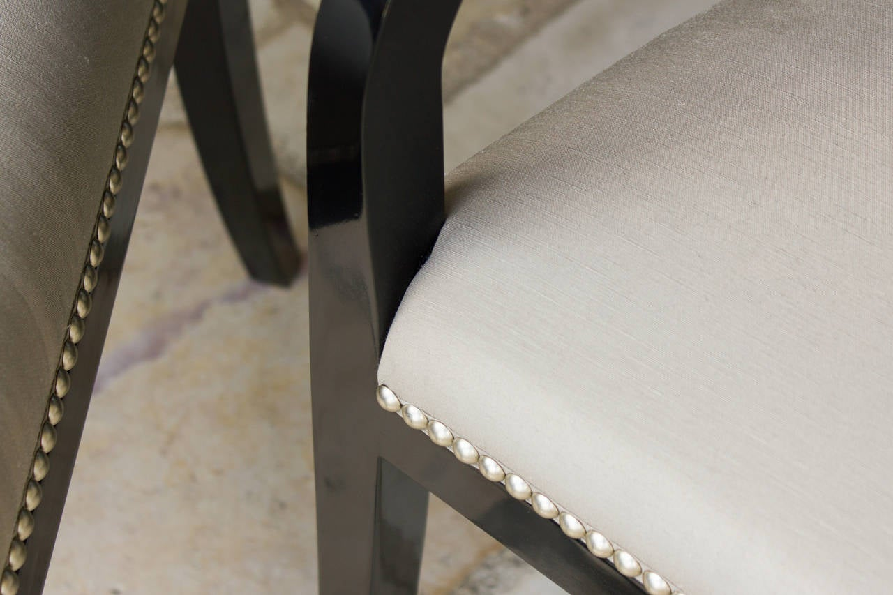 Contemporary Chandler Armchairs by Robert Brown in Truffle Lacquer For Sale