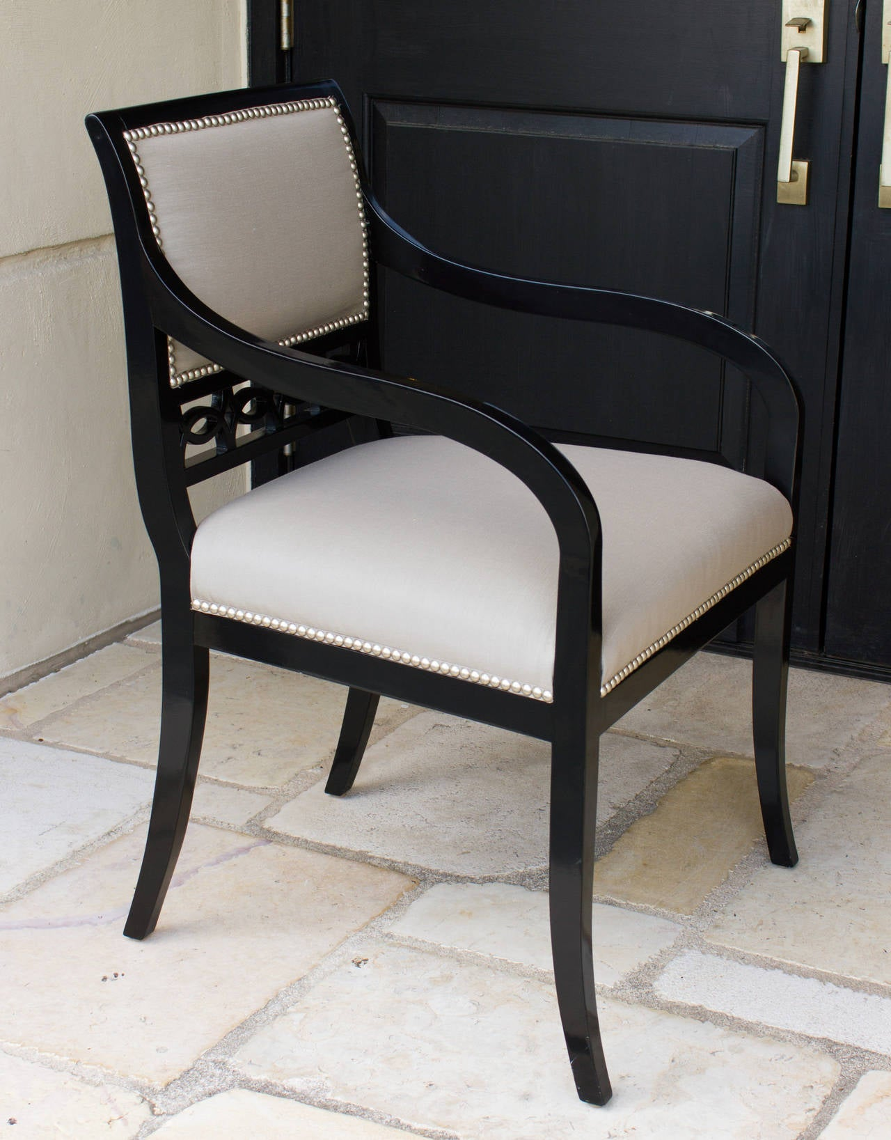 American Classical Chandler Armchairs by Robert Brown in Truffle Lacquer For Sale