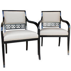 Chandler Armchairs by Robert Brown in Truffle Lacquer