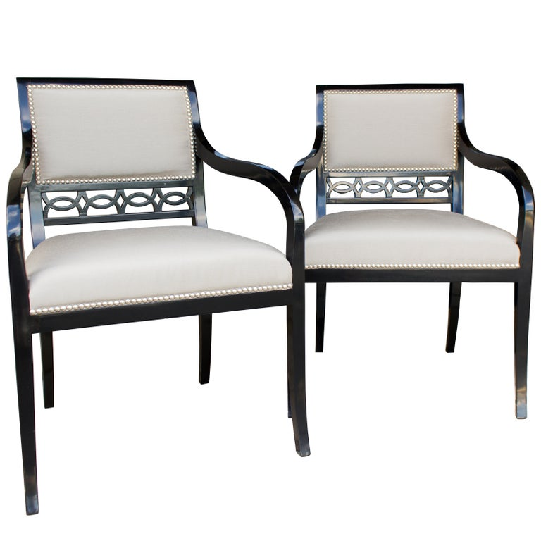Chandler Armchairs by Robert Brown in Truffle Lacquer For Sale