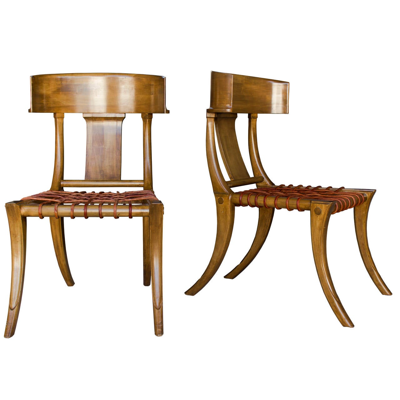 Klismos chair drawing - Handsome Pair Of Klismos Chairs By Kreiss 1