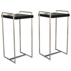 Pair of Steel and Ebonized Wood Side Tables