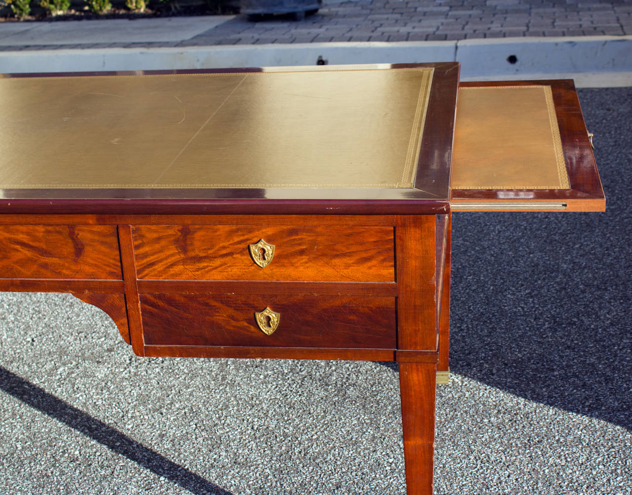 Brass 1940 Directoire Style Desk with Inset Leather Top For Sale