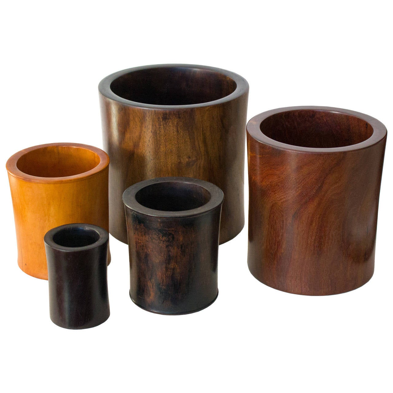 Collection of five antique chinese wood brush pots at 1stdibs for Wood in chinese