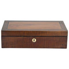 1880 Mahogany and Satinwood Box with Lock and Key