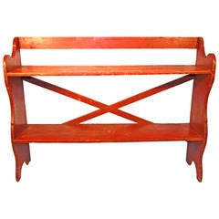 19th Century Pennsylvania Painted Pine Bucket Bench in Old Red Surface