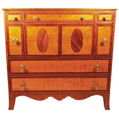 Late 18th Century Tiger Maple, Cherry and Mahogany Hepplewhite Server
