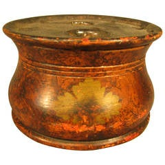 19th Century American Turned and Grain-Painted Inkwell