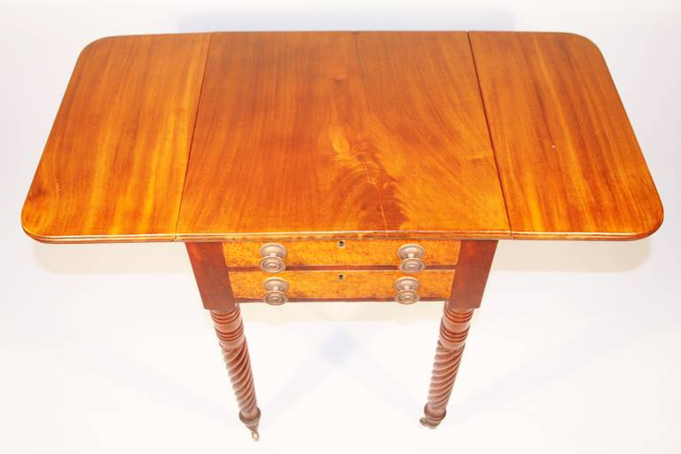 American 19th Century Sheraton Mahogany Work Table with Birdseye Maple Drawers For Sale