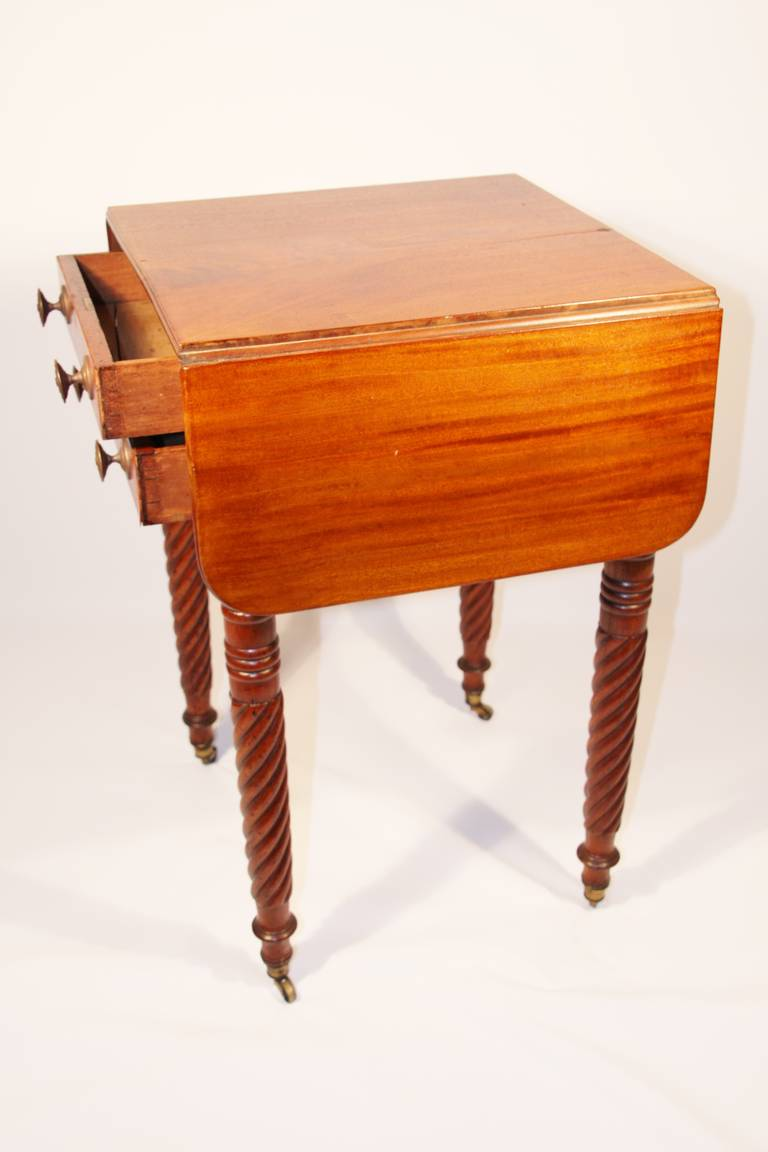 19th Century Sheraton Mahogany Work Table with Birdseye Maple Drawers For Sale 2
