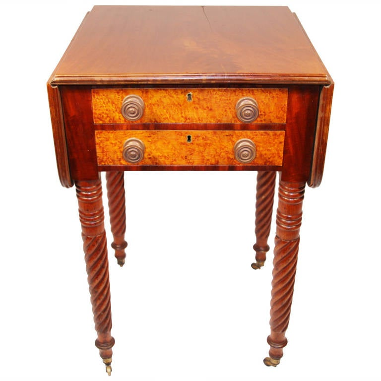 19th Century Sheraton Mahogany Work Table with Birdseye Maple Drawers For Sale