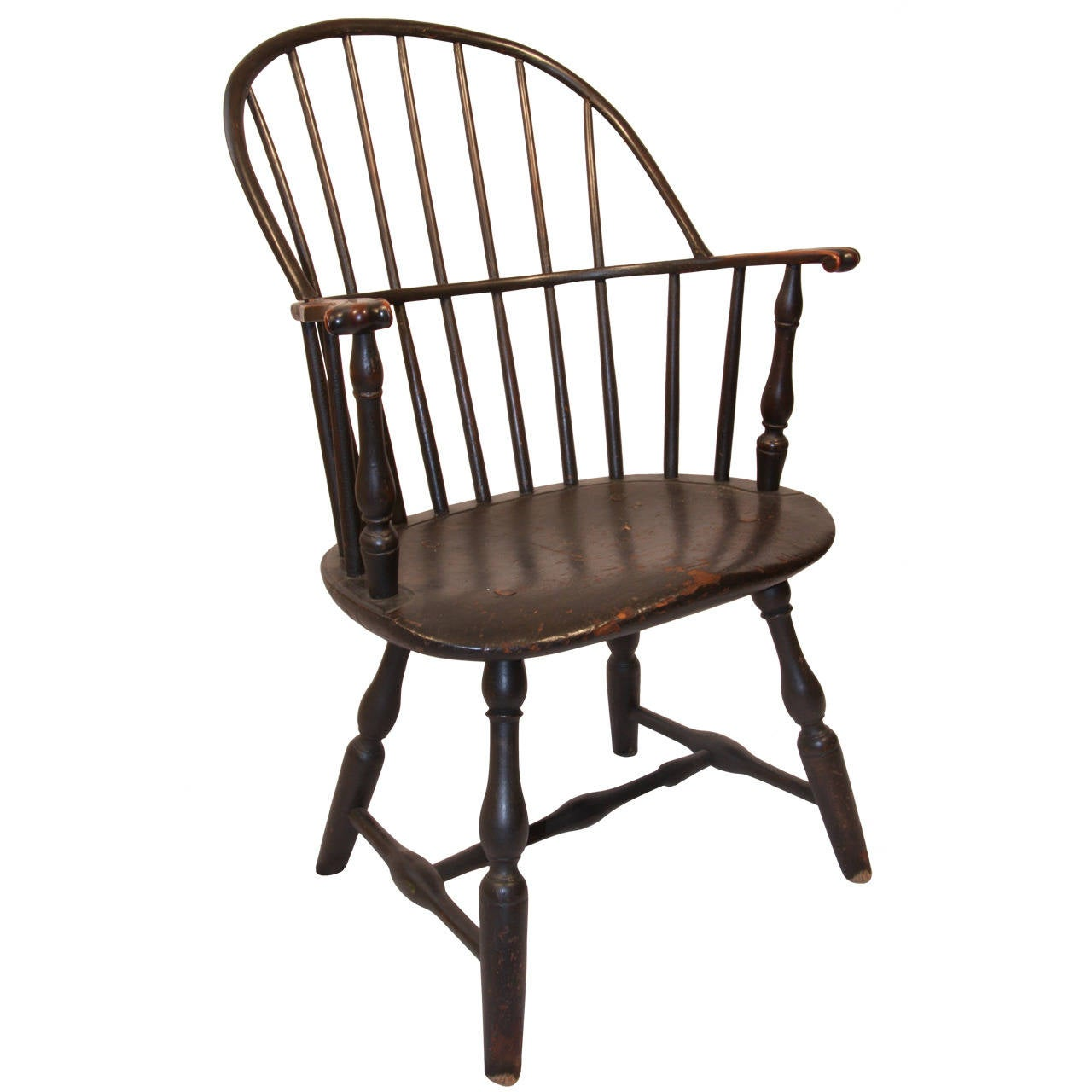 18th Century Connecticut Sack Back Knuckle Arm Windsor Chair 1 - 18th Century Connecticut Sack Back Knuckle Arm Windsor Chair At