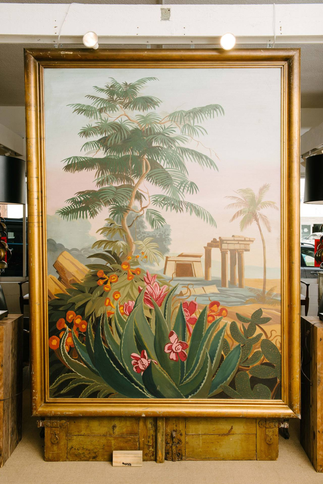 A grand Hollywood painting of El Dorado in giltwood frame, 70