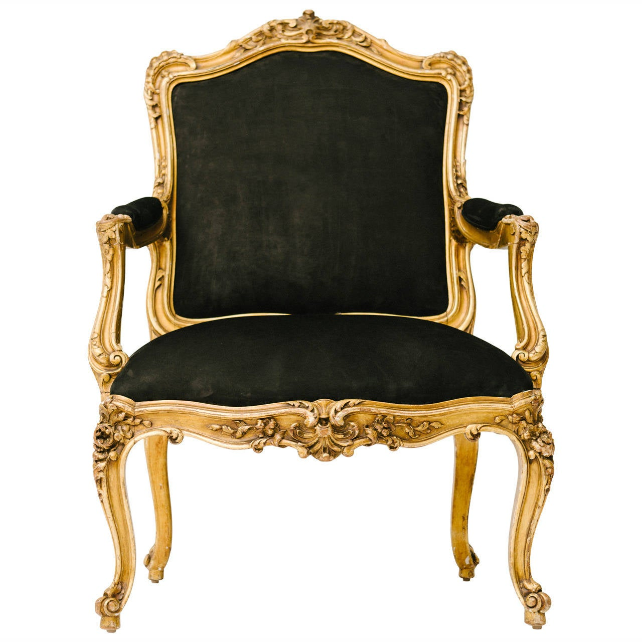 19th century louis xv style gilt fauteuil in black nubuck leather at 1stdibs - Fauteuil style louis xv ...