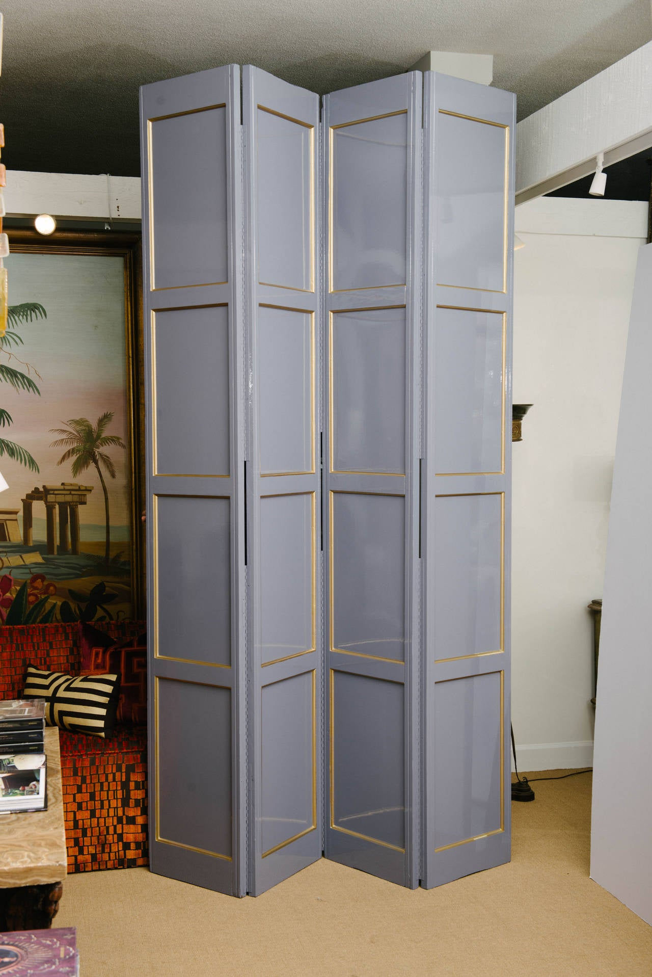 A vintage tall and stately lavender gray lacquered four-paneled screen. Measures: 102
