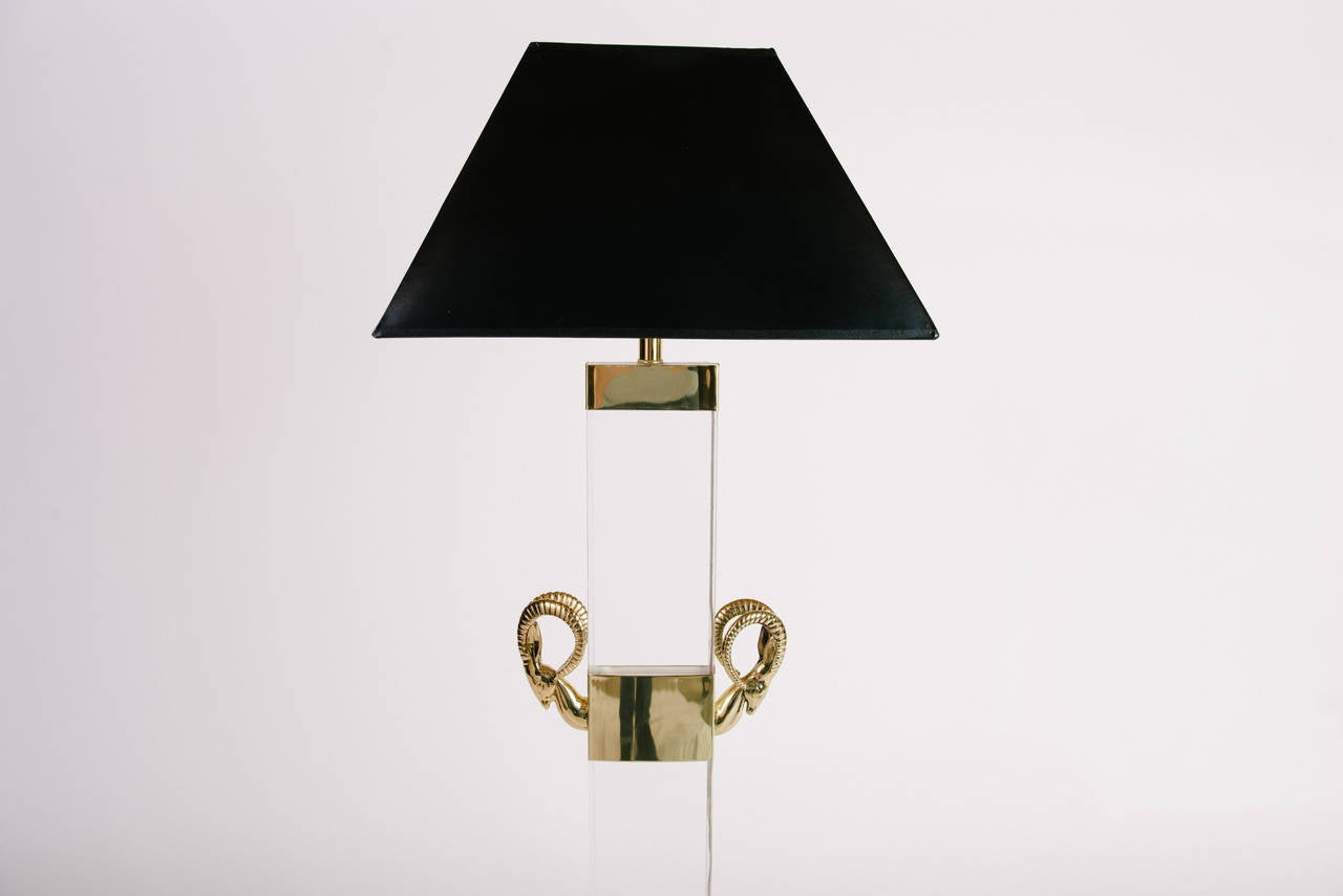 Vintage Brass and Lucite Ibex Head Floor Lamp For Sale at 1stdibs