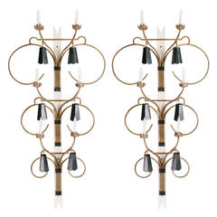 """Pair of Mid Century Custom Wall Sconces 70""""H x 38""""W, 48 hour hold"""
