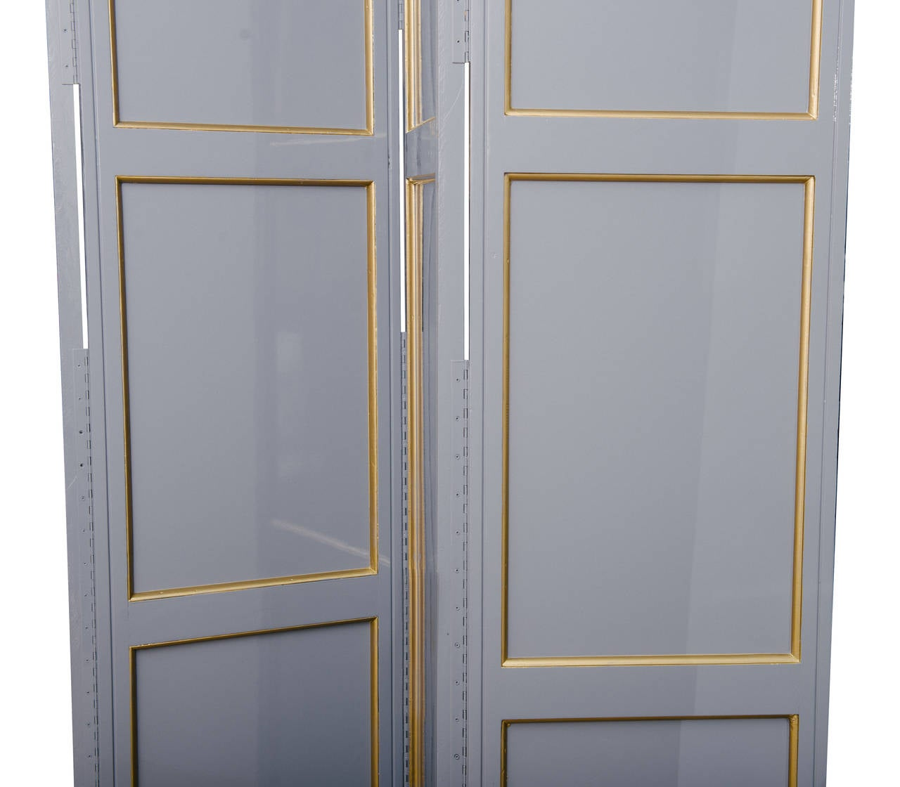 20th Century Grey Lacquered Four-Panel Screen For Sale